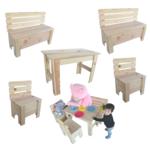 Kindertisch Kinderbank Kinderstuhl Holzbank Sitzgruppe Tisch Bank Holz