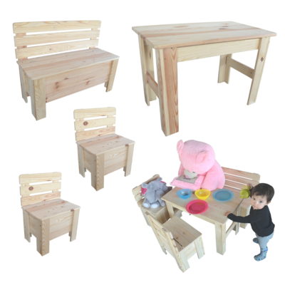 kinderstuhl kindertisch kinderbank sitzgruppe tisch stuhl bank holz. Black Bedroom Furniture Sets. Home Design Ideas