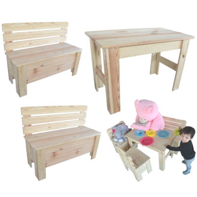 kindertisch holztisch kinderbank holzbank sitzgruppe tisch bank holz. Black Bedroom Furniture Sets. Home Design Ideas