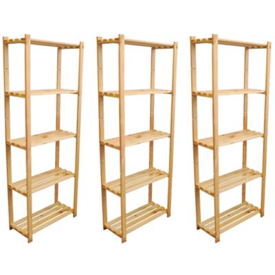 3 x 170 x 65 x 28 cm Holzregal für Ordner Akten Bücher Schuhe Archiv