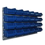 24 blaue Sichtlagerkästen Schüttenregal Lagersichtkasten Wandhalter