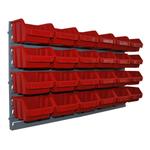 24 rote Sichtlagerkasten mit Wandhalterung großes Schüttenregal