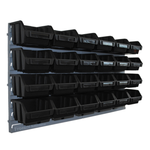 Set 24 schwarze kleine Sichtlagerkästen Lagersichtboxen mit Wandhalter