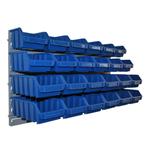 24 blaue Lagersichtkästen Sichtlagerboxen Stapelboxen mit Wandhalter