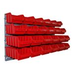 24 kleine und mittlere Stapelboxen Lagerboxen mit Wandhalterung