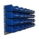 24 blaue Schütten Sichtlagerkasten Lagersichtkasten mit Wandhalterung