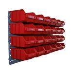 24 rote Sichtlagerkästen Sichtlagerbox mit 1 Wandhalterung