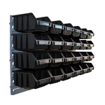 24 schwarze Sichtlagerboxen mit Wandhalter Schüttenregal
