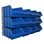 12 blaue große Sichtlagerboxen Lagerkisten mit Wandhalter