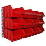 12 rote Kleinteileboxen Lagerboxen stapelbar mit Wandhalterung