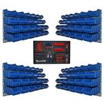 96 blaue Lagerboxen verschiedene Größen mit Wandhalter u. Werkzeugwand