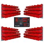 96 rote mittlere Kleinteilekisten Wandhalter und Werkzeugstation
