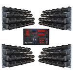 Lagerkasten Set mit 96 schwarzen Kisten Wandhalter Werkzeugwand