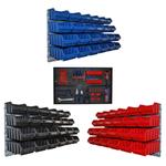 Set aus blaue rote und schwarze Lagerboxen mit Wandhalter 72 Boxen