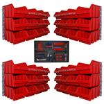 48 große rote Lagersichtkasten Sichtlagerbox mit Wandhalter