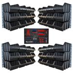 Set mit 48 große Sichtlagerkästen mit Wandhalterung und Werkzeugwand