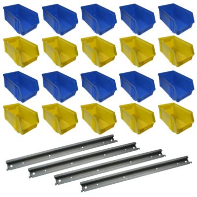 20x 100 x 75 x 165 Sichtlagerbox Stapelbox mit Halterung gebraucht