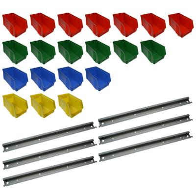 20 Stück Sichtlagerbox Stapelbox & Halterung gebraucht 21 x 15 x 34 cm