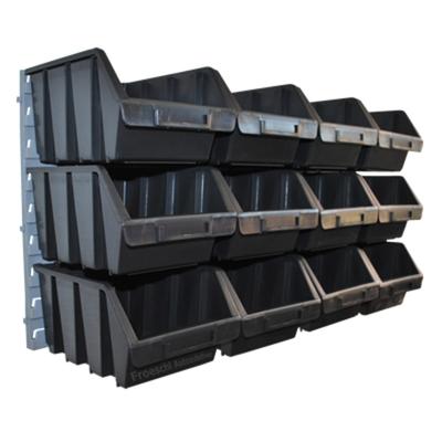 12 große schwarze Lagerboxen Lagerkisten Sichtbox mit Wandhalterung