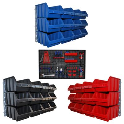 36 Kleinteileboxen Lagerboxen mit Wandhalterungen und 1 Werkzeughalter